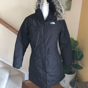 The north face black faux fur down puffer jacket M